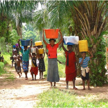 Children carrying water home
